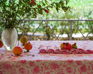 Pink table cover and napkin set in pure linen by Lotty B Mustique