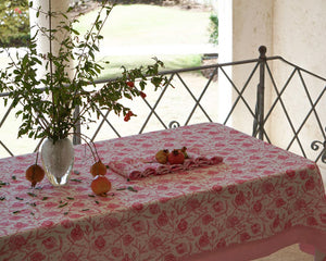 Tablecloth & Napkin set: POMEGRANATE PINK fabric print designed by British fashion & interiors designer Lotty B for Pink House Mustique
