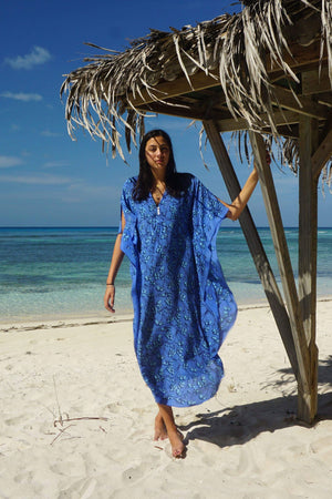 Silk Jenlee Kaftan: FLAMBOYANT FLOWER - BLUE designer Lotty B Mustique exclusive resort wear