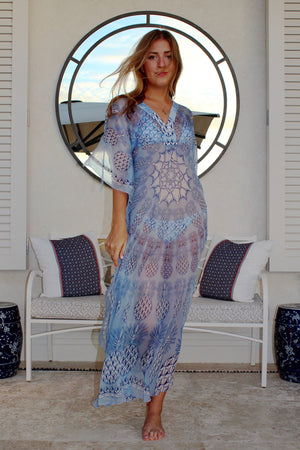 Lotty B Long Kaftan in Chiffon: PINEAPPLE - BLUE front Mustique mirror