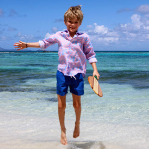 Childrens Linen Shirt: BANANA TREE - PINK designer Lotty B Mustique Beach life