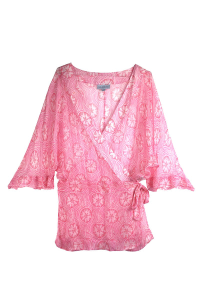 Lotty B Kimono in Silk Chiffon (Sand Dollar Repeat Coral)