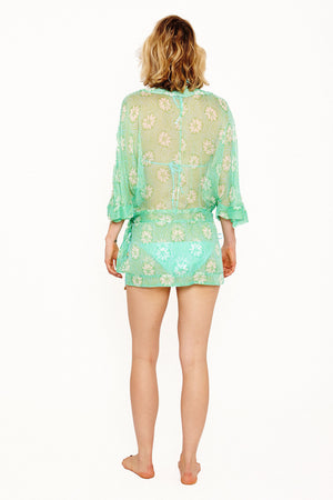 Lotty B Kimono in Silk Chiffon (Sand Dollar Repeat Green) Back