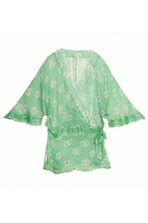 Kimono in Silk Chiffon: SAND DOLLAR - GREEN designer Lotty B Mustique