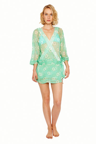 Lotty B Kimono in Silk Chiffon (Sand Dollar Repeat Green) Front
