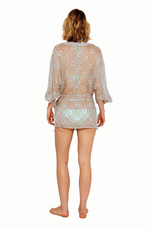 Lotty B Kimono in Silk Chiffon (Sand Dollar Repeat Taupe) Back