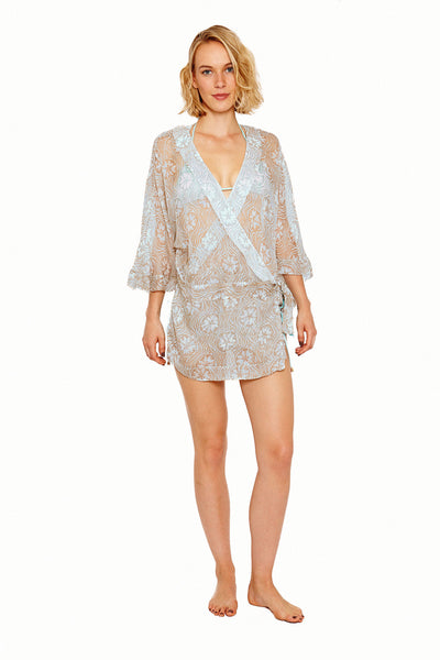 Lotty B Kimono in Silk Chiffon (Sand Dollar Repeat Taupe) Front