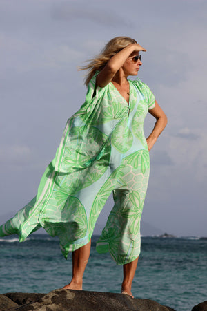 Long Kaftan in Silk Crepe-de-Chine : SAND DOLLAR GREEN designer Lotty B Mustique exclusive resort wear