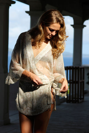 Kimono in Silk Chiffon: SAND DOLLAR - TAUPE designer Lotty B Mustique luxury resort wear