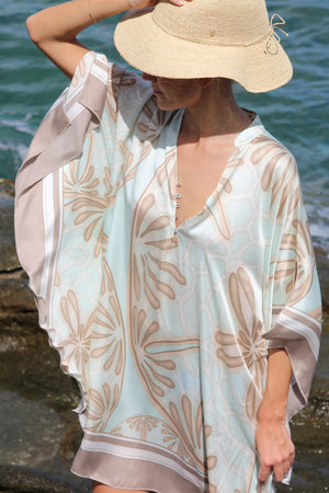 Lotty B Short Kaftan in Silk Crepe-de-Chine (Sand Dollar Taupe)