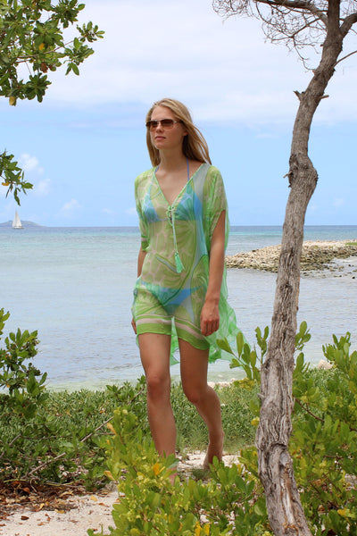 Lotty B Short Kaftan in Silk Chiffon (Sand Dollar Green)