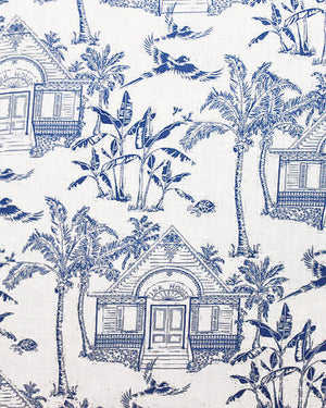 Mens Linen Shirts Mustique Toile (Blue) Detail