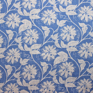 Linen fabric swatch : PASSION FRUIT - BLUE / WHITE designer Lotty B Mustique kids