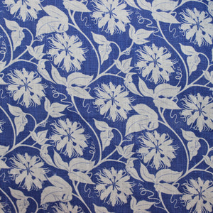 Linen fabric swatch: PASSION FRUIT - NAVY / WHITE designer Lotty B Mustique