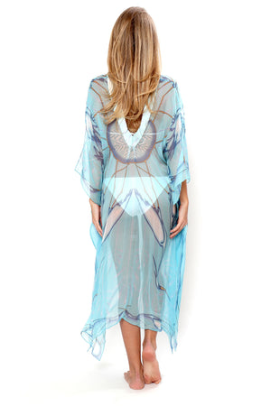 Lotty B 3/4 Length Kaftan Egret (Blue) Back