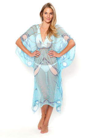 Lotty B 3/4 Length Kaftan Egret (Blue) Front