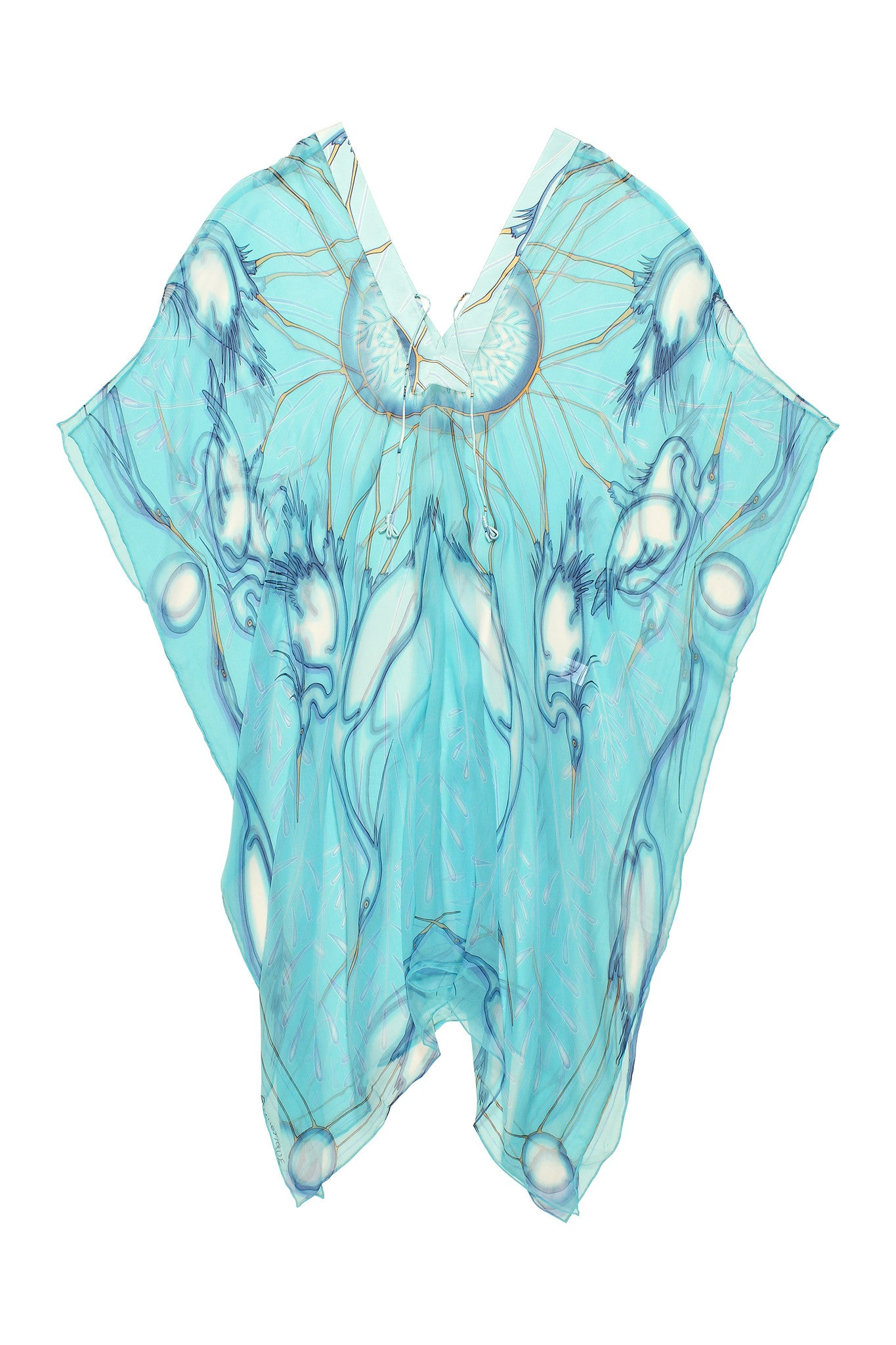 Lotty B 3/4 Length Kaftan Egret (Blue) Flat
