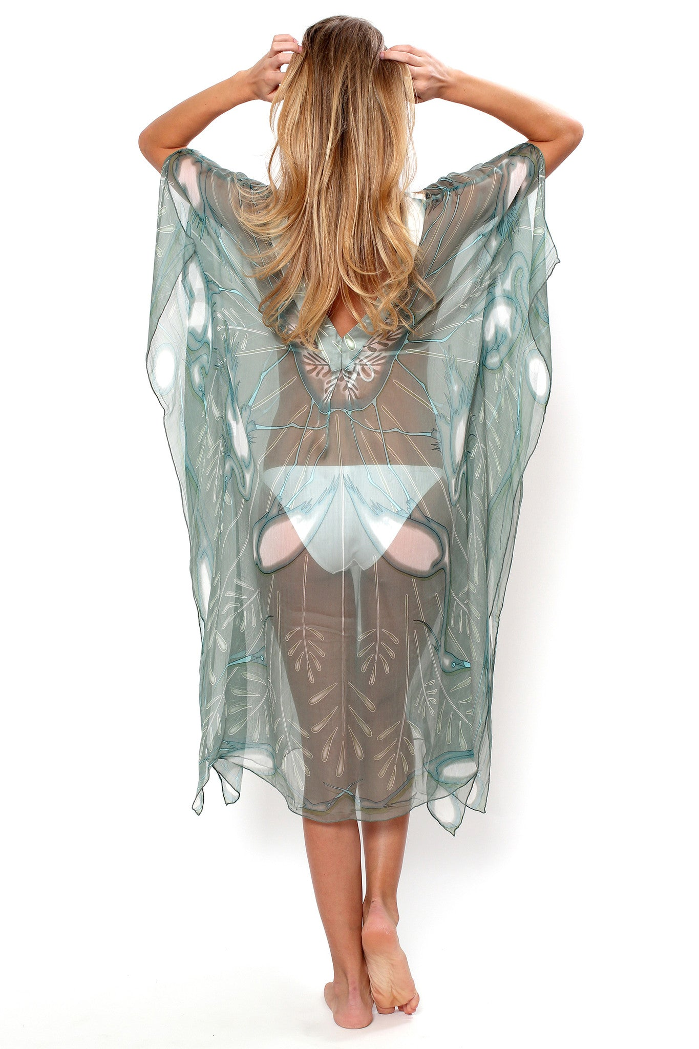 Lotty B 3/4 Length Kaftan Egret (Lichen) Back