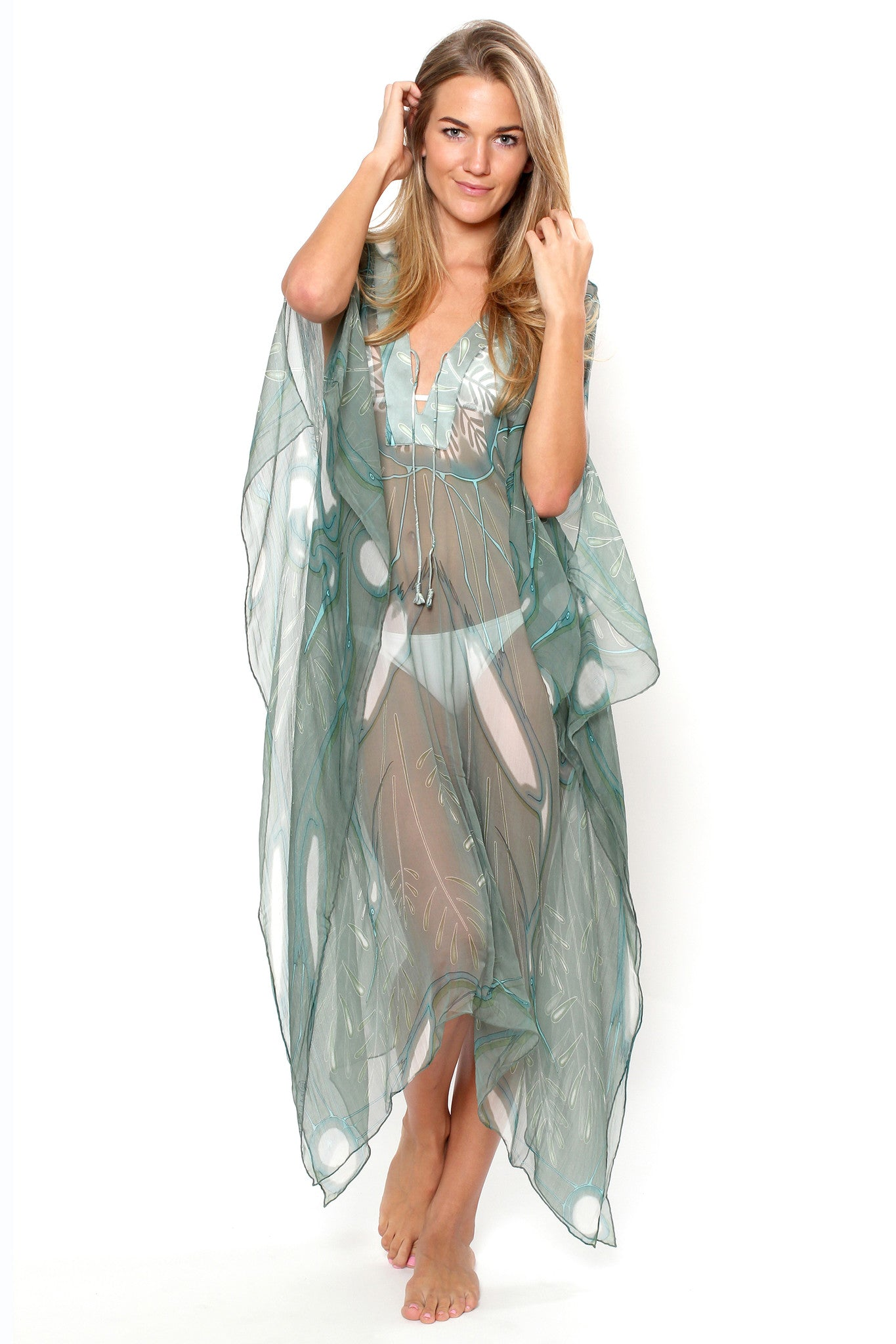 Lotty B 3/4 Length Kaftan Egret (Lichen) Front