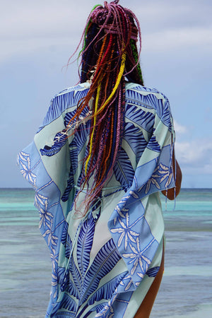 Jenlee Kaftan: BANANA TREE - BLUE by Lotty B Mustique, luxury beachwear