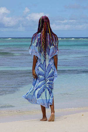 Jenlee Kaftan: BANANA TREE - BLUE by Lotty B Mustique, long silk kaftan cover up