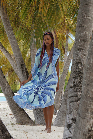 Jenlee Kaftan: BANANA TREE - BLUE by Lotty B Mustique, long silk kaftan dress