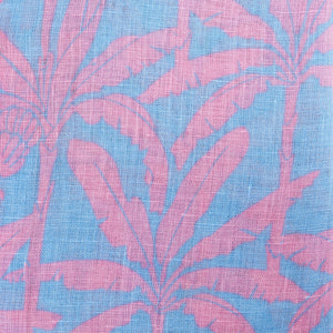 BANANA TREE - PINK linen fabric swatch designer Lotty B