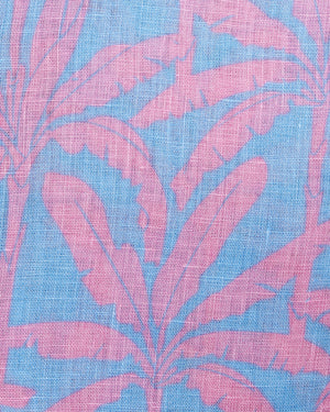 BANANA TREE - BLUE linen fabric swatch designer Lotty B
