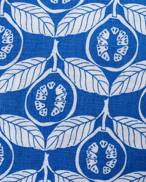 Guava dazzling blue linen swatch, designed by Lotty B Mustique