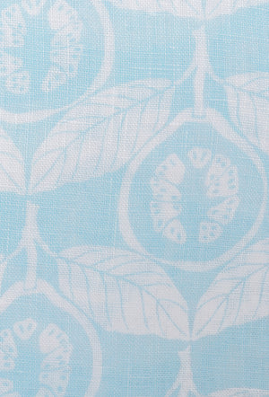 Linen Guava print in pale blue by Lotty B Mustique