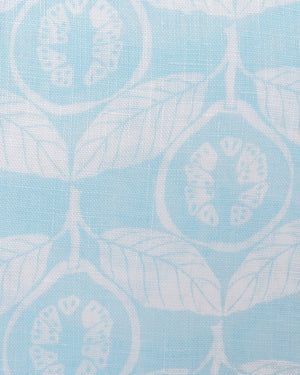 Guava pale blue linen swatch, designed by Lotty B Mustique