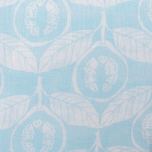 Linen fabric swatch Guava pale blue designer Lotty B Mustique