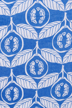 Guava blue linen print by Lotty B Mustique