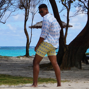 Mens swim shorts: BEETLE - NAVY / YELLOW