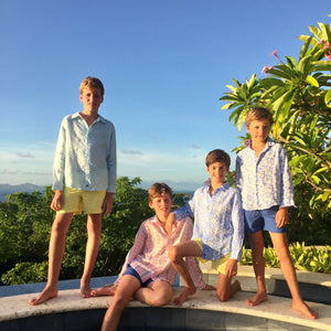 Childrens Linen Shirt: MARRAKECH - BLUE designer Lotty B for Pink House Mustique kids lifestyle