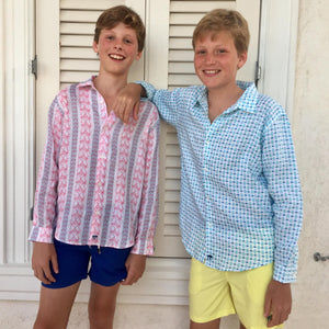 Childrens Linen Shirt: M PALM STRIPE RED designer Lotty B Mustique lifestyle beach kids