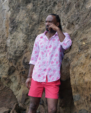 Mens Linen Shirt: POMEGRANATE - PINK