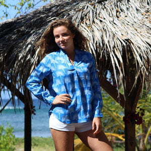 Womens Linen Blouse: FAN PALM PALE BLUE / MID BLUE holiday shopping Mustique