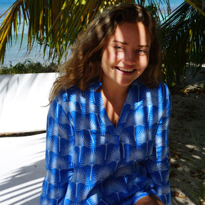 Womens Linen Blouse: FAN PALM PALE BLUE / MID BLUE Mustique style