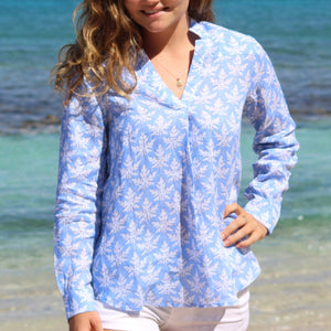 Womens Linen Blouse: PAPAYA - BLUE Mustique beach wear