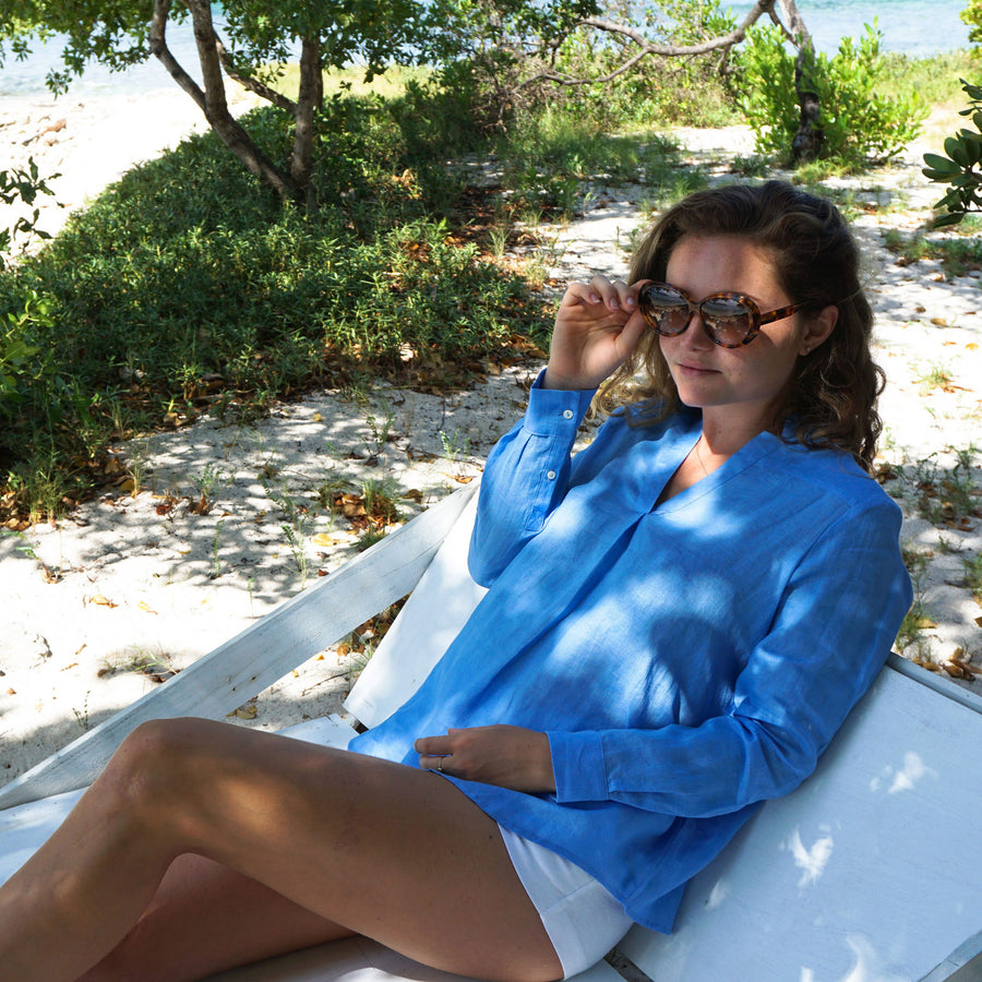 Womens Linen Blouse: FRENCH BLUE easy beach wear Mustique style