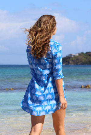 Womens Linen Flared Dress: FAN PALM - PALE BLUE / MID BLUE walking on the beach Mustique