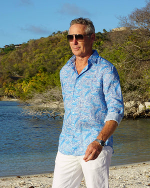 Mens pure linen shirt in blue whale print by Lotty B Mustique holiday wear