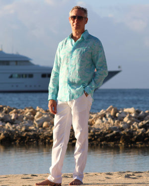 Mens Linen Shirt in Turquoise Green Whale Print by Lotty B Mustique holiday shirts