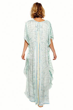 Lotty B Long Kaftan in Silk Crepe-de-Chine (Spiderlily Pale Blue) Back