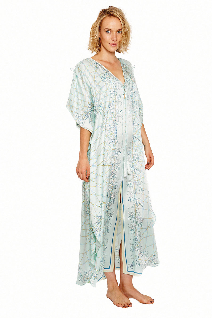 Lotty B Long Kaftan in Silk Crepe-de-Chine (Spiderlily Pale Blue)