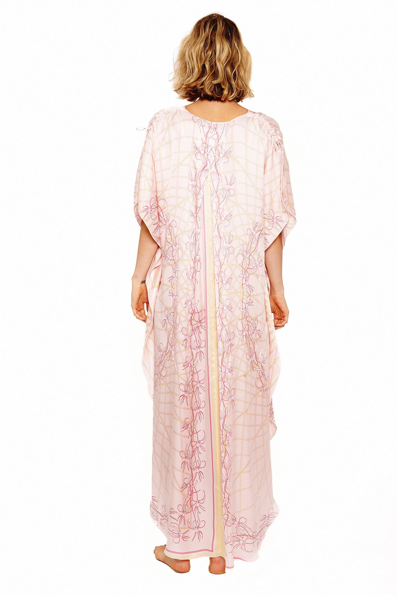 Lotty B Long Kaftan in Silk Crepe-de-Chine (Spiderlily Peach Pink) Back