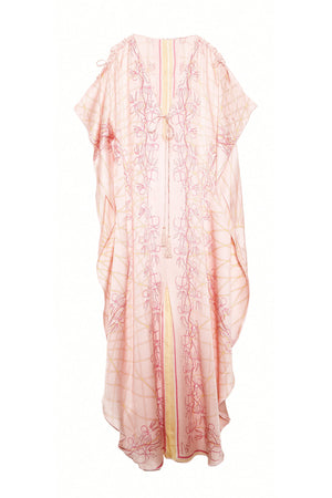 Lotty B Long Kaftan in Silk Crepe-de-Chine (Spiderlily Peach Pink)