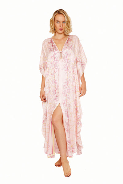 Lotty B Long Kaftan in Silk Crepe-de-Chine (Spiderlily Peach Pink) Front