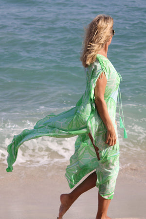 Long Kaftan in Silk Crepe-de-Chine : SAND DOLLAR GREEN designer Lotty B Mustique vacation wear